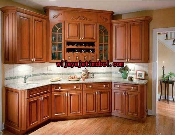 Kitchen set minimalis motif ukiran jati harga modern for Kitchen set jadi
